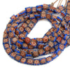 Floral Chevron Glass Tabular Square Bead Strand #34