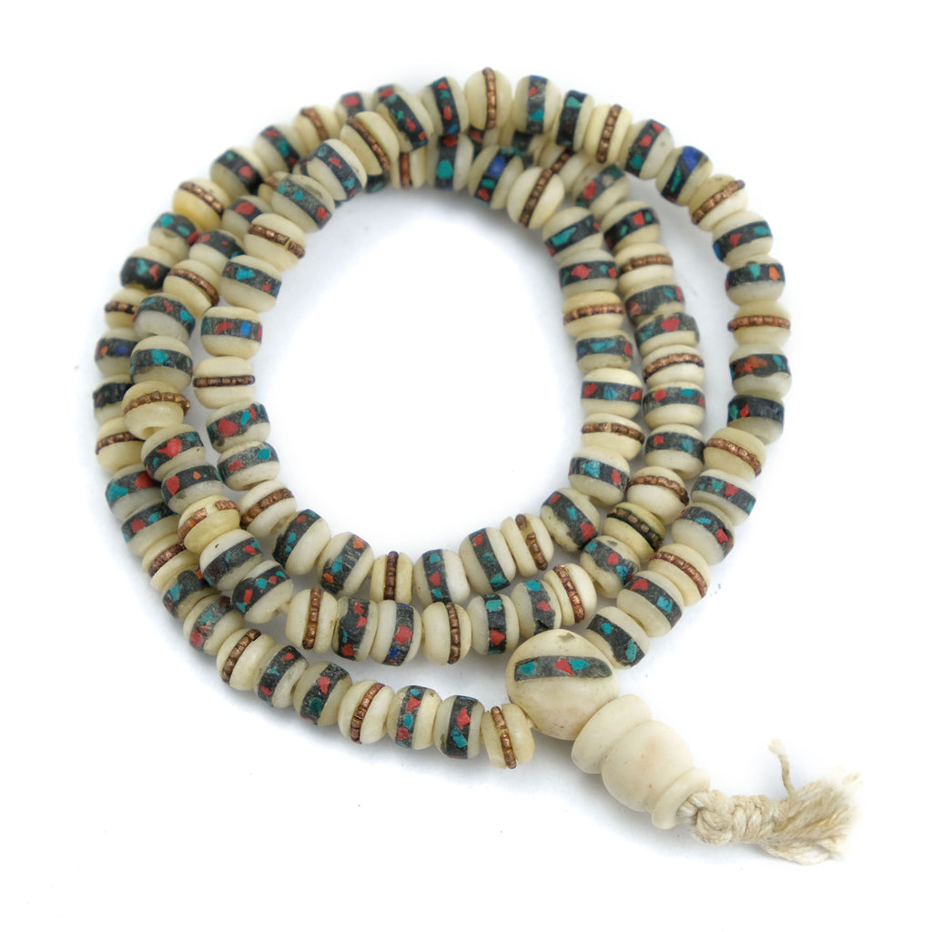 Inlaid Yak Bone Mala 6mm