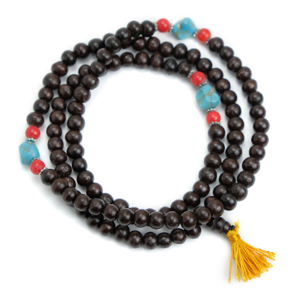 Pine Wood Mala 8mm with Spacers