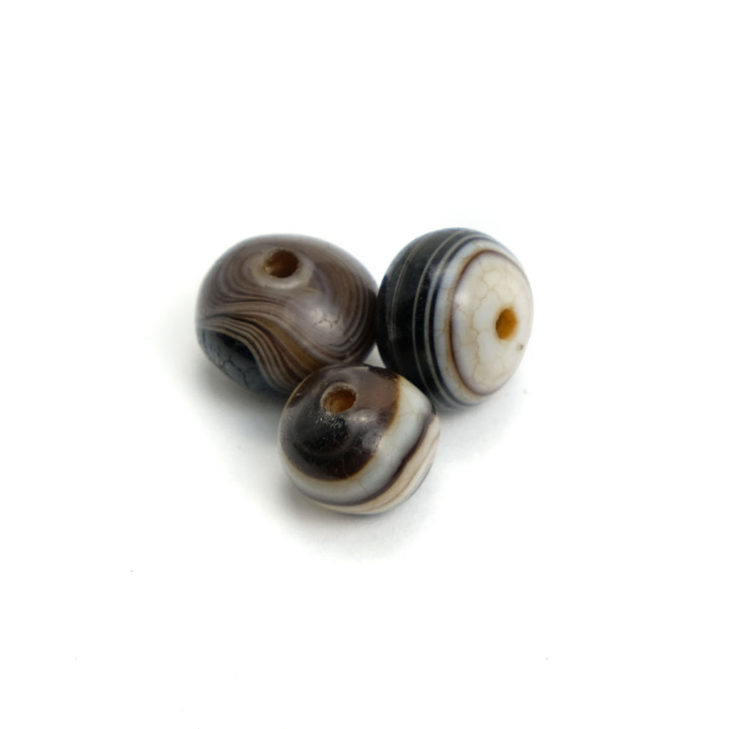 Suleiman Agates Beads Small, Set of 3  #1