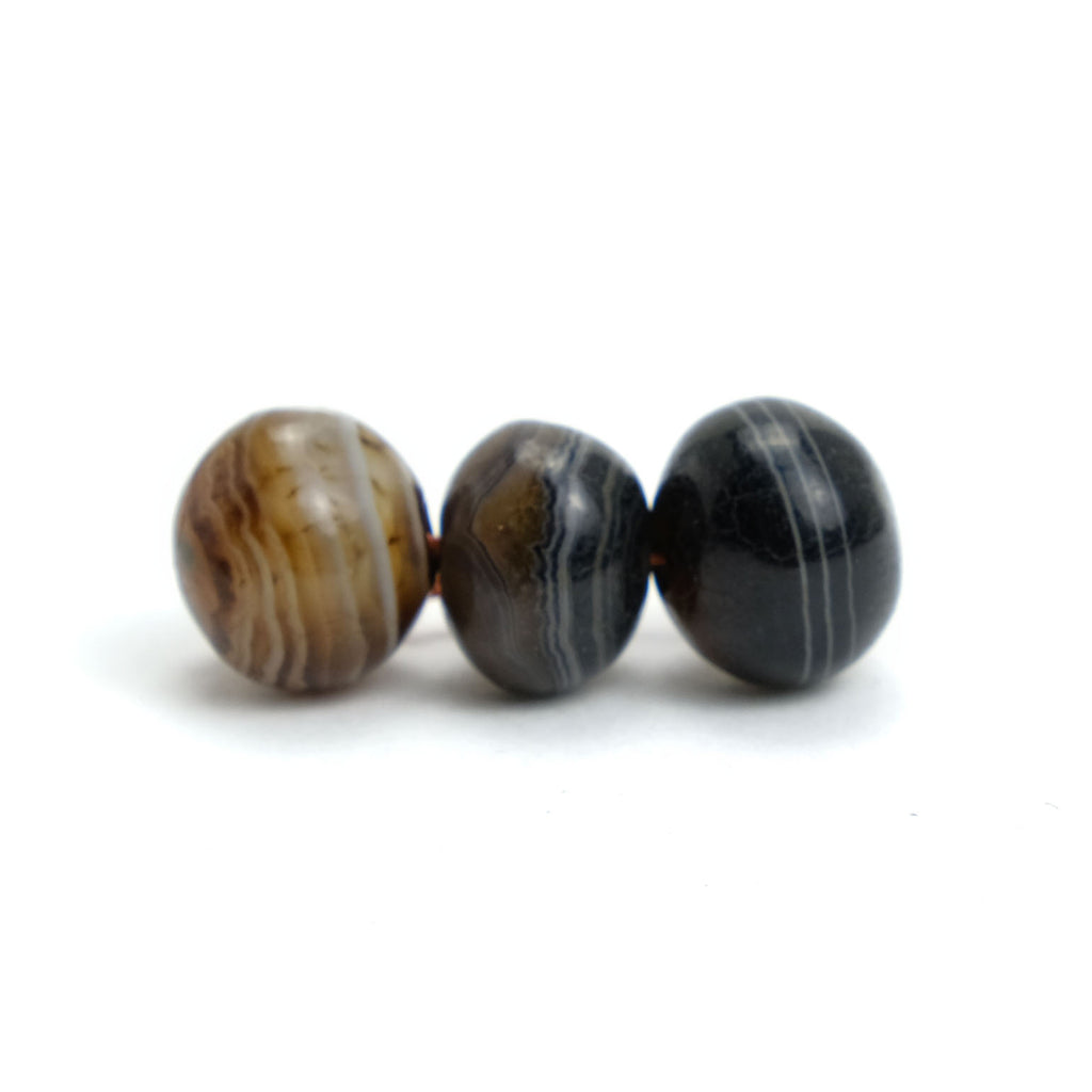 Suleiman Agates Beads Small, Set of 3  #4