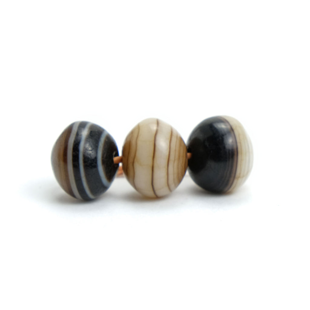 Suleiman Agates Beads Small, Set of 3  #5