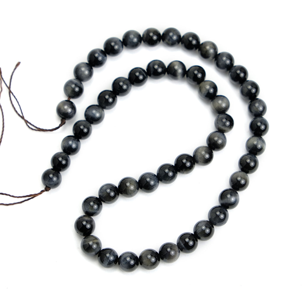 Black Cat's Eye 8mm Smooth Rounds