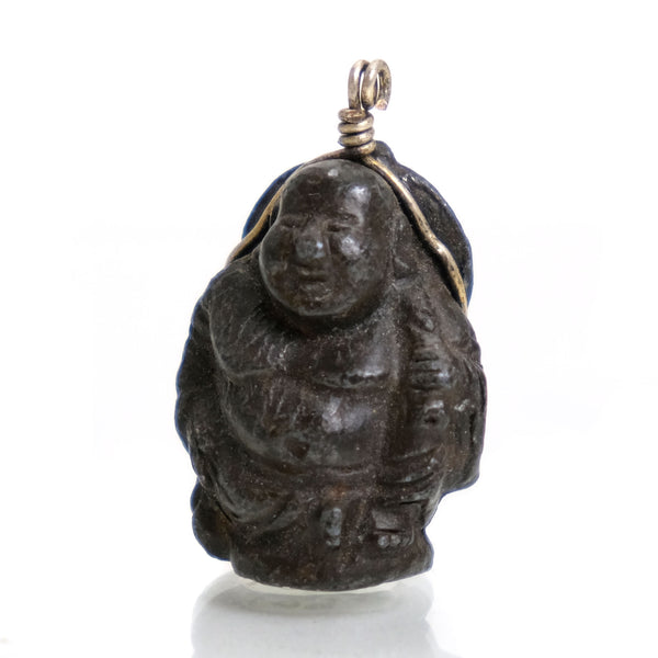 "Budai (China) or Hotei (Japan) ""Laughing Buddha"" Hand Cast Bronze Amulet"