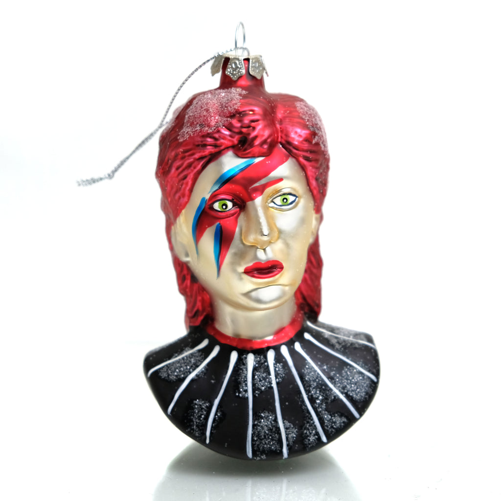 David Bowie Bust Glass Ornament