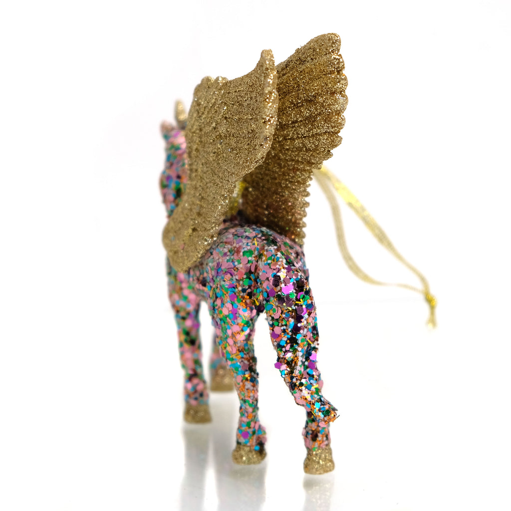 Pixelated Unicorn with Gold Wings Ornament
