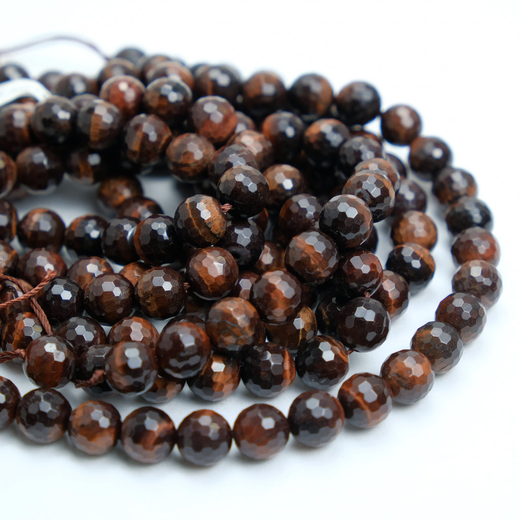 Red Tiger's Eye 10mm Faceted Rounds
