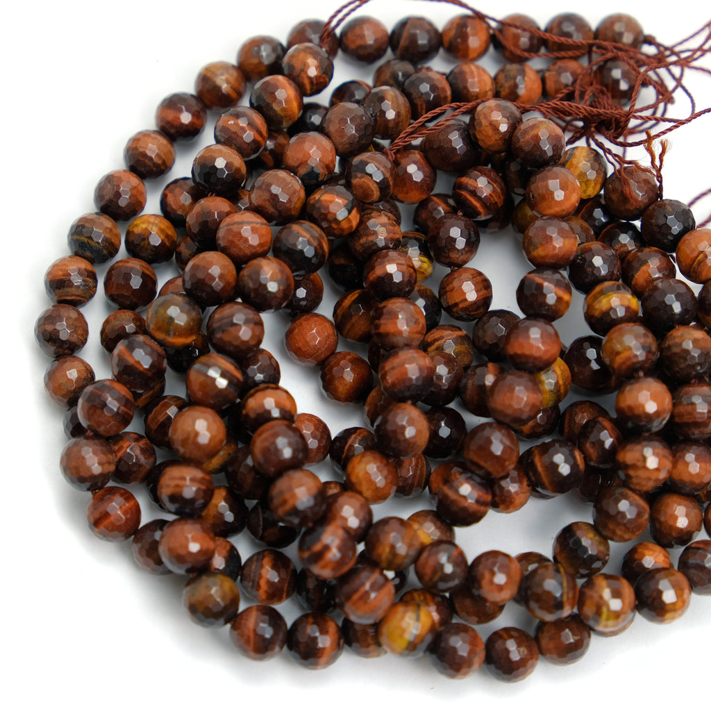 Red Tiger's Eye 8mm Faceted Rounds