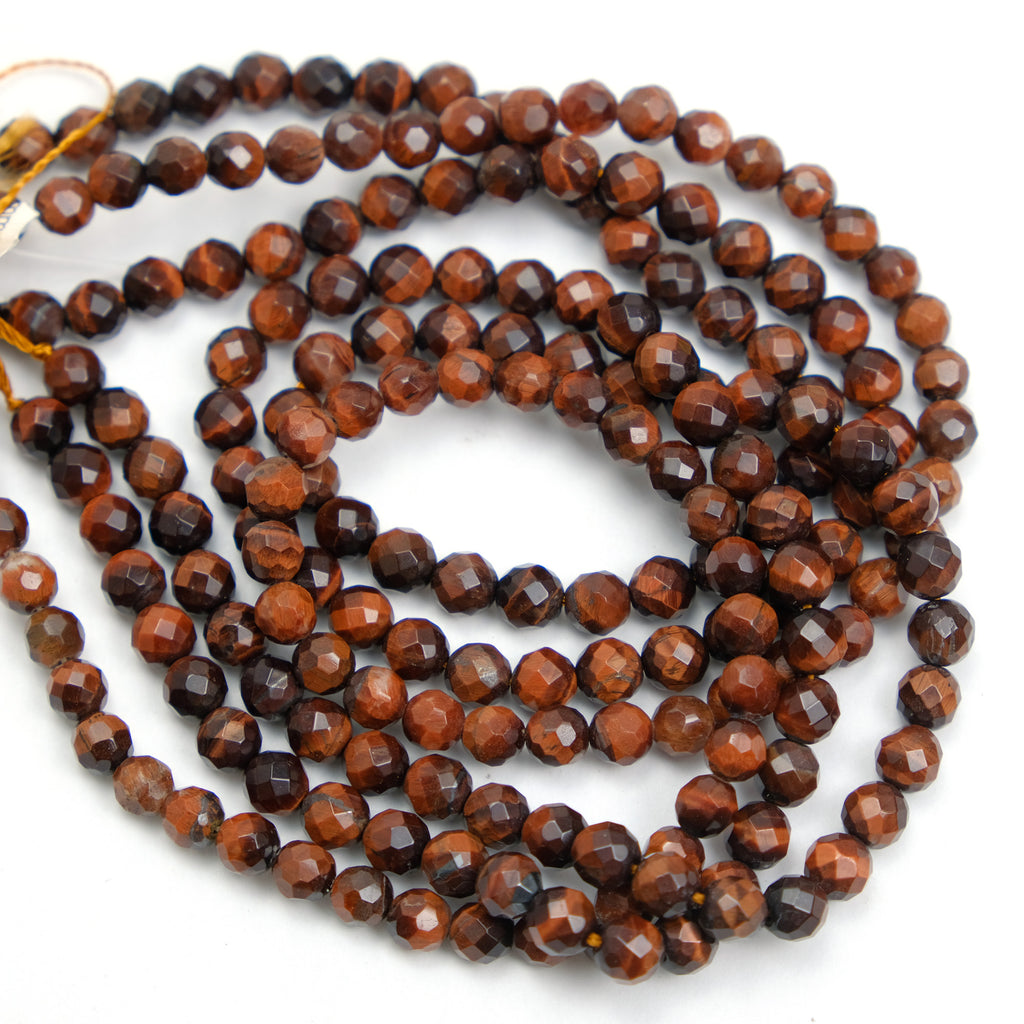 Red Tiger's Eye 6mm Faceted Rounds