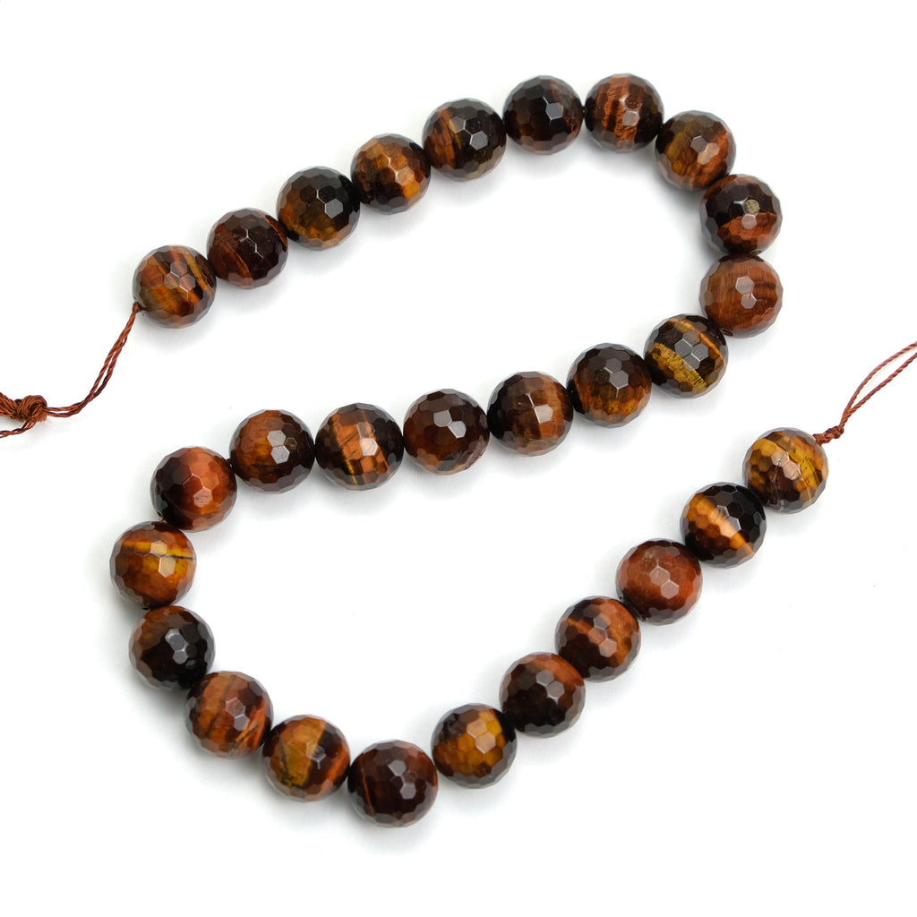 Red Tiger's Eye 14mm Faceted Rounds