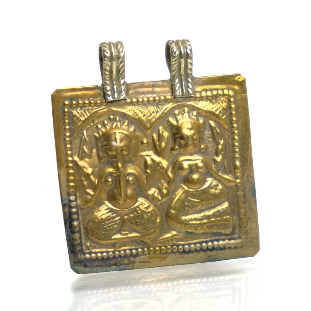 Lakshmi and Ganesha Brass Pendant