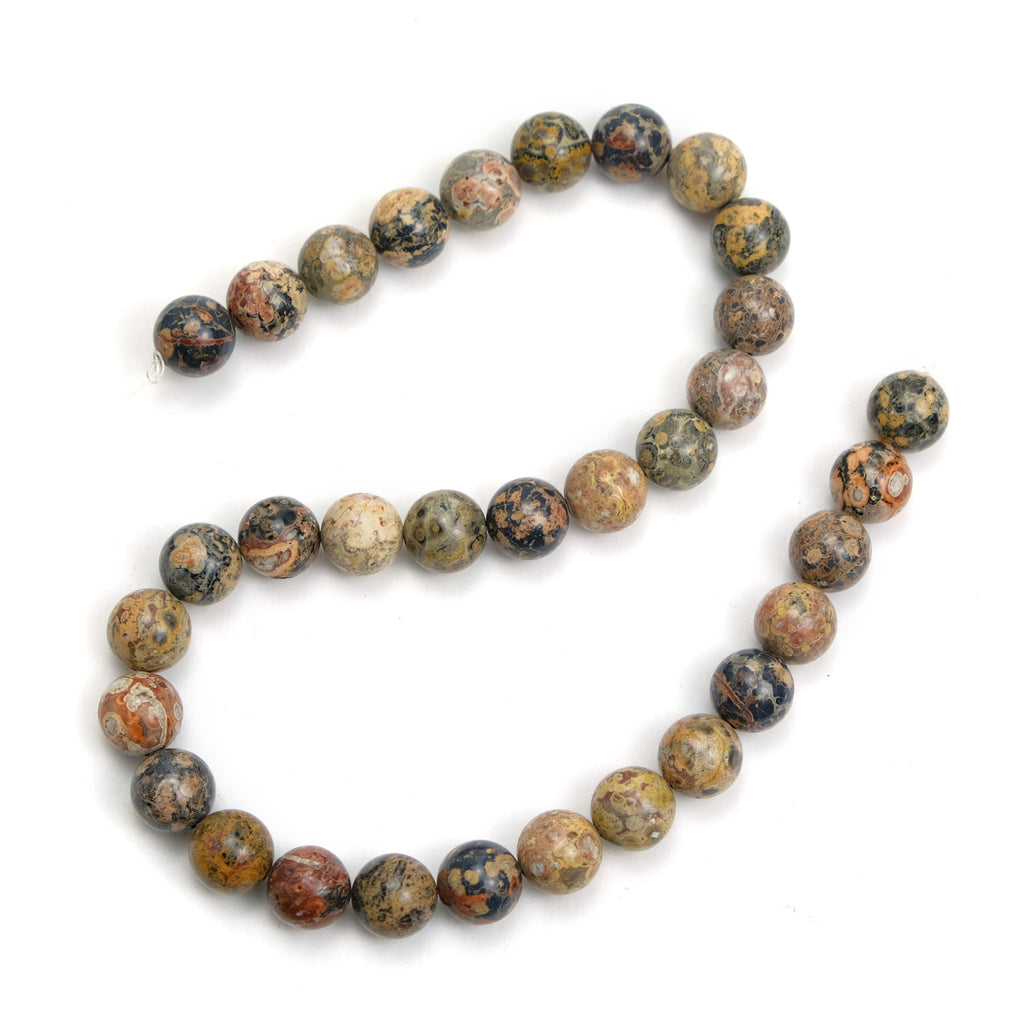 Jasper Leopard 12mm Smooth Rounds