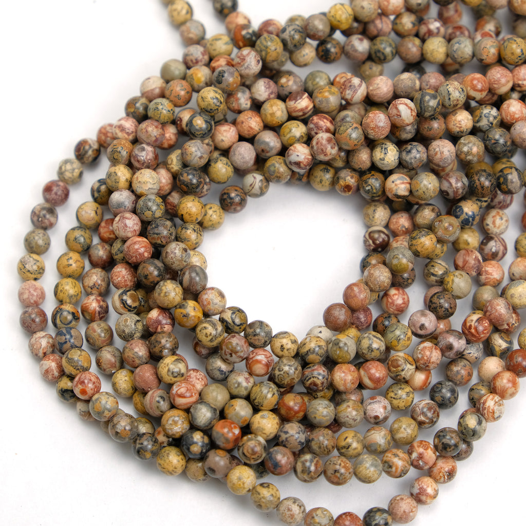 Jasper Leopard 6mm Smooth Rounds