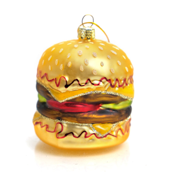 Double Cheeseburger Glass Ornament