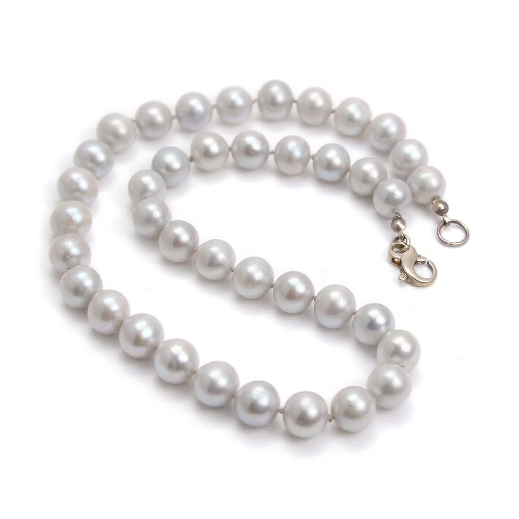 Fresh Water Pearl Knotted Necklace with Sterling Silver Fancy Lobster Clasp