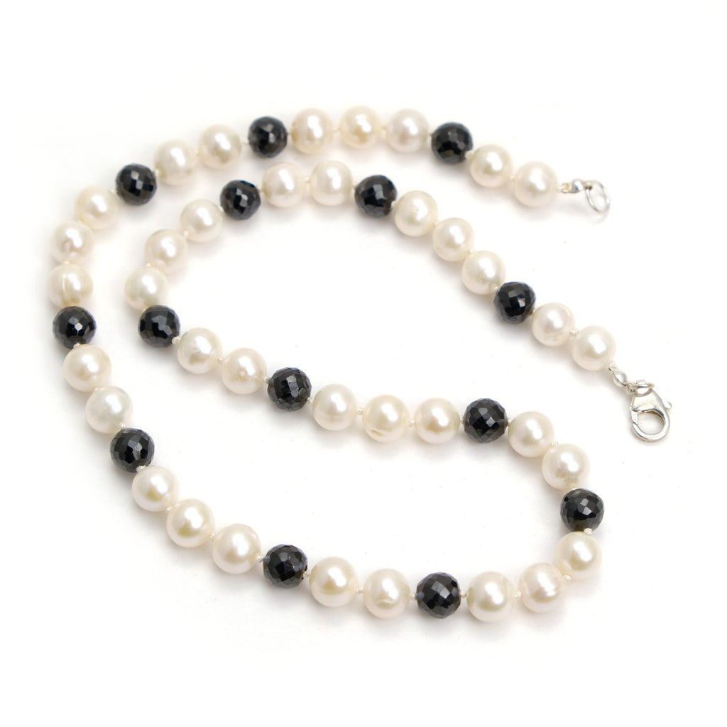 Fresh Water Pearl with Black Spinel Knotted Necklace with Sterling Silver Trigger Clasp
