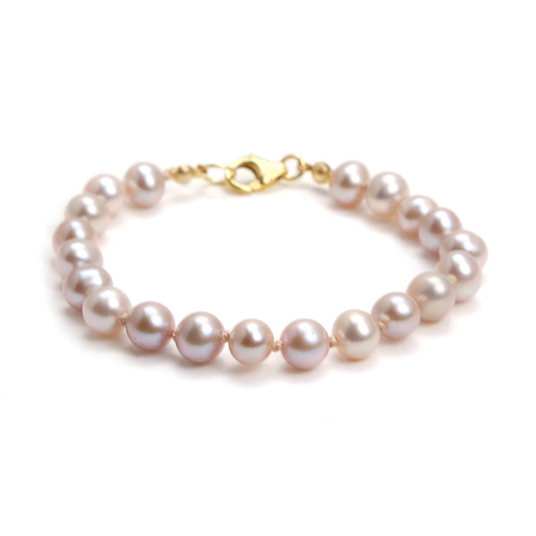 Fresh Water Pearl Knotted Bracelet With Gold Filled Trigger Clasp