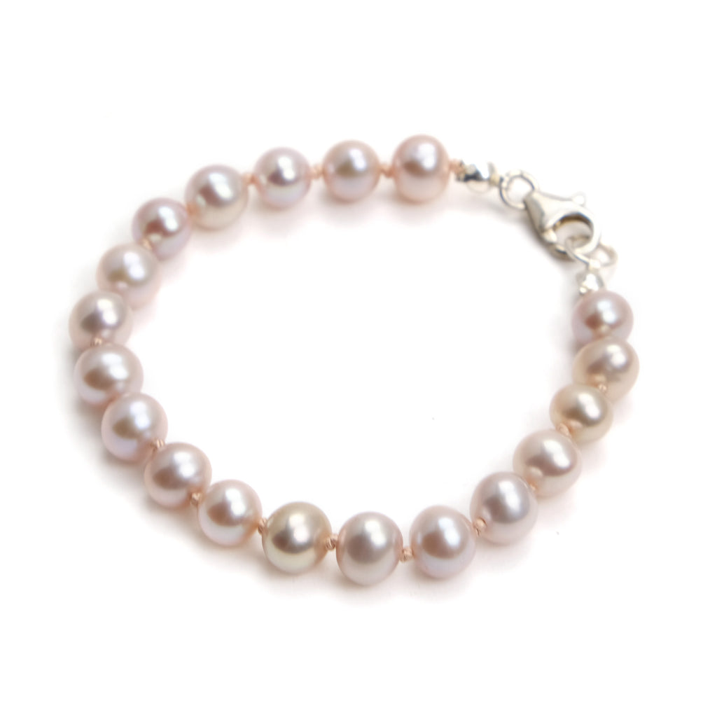 Fresh Water Pearl Knotted Bracelet With Sterling Silver Trigger Clasp