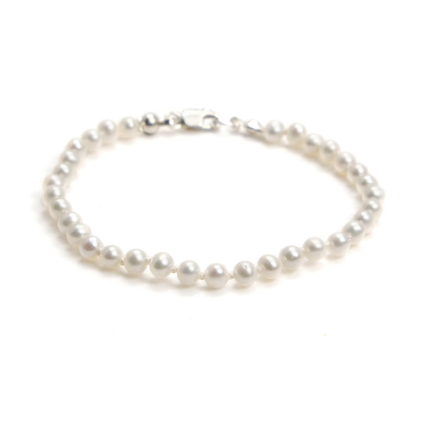 Fresh Water Pearl Knotted Bracelet With Sterling Silver Lobster Clasp