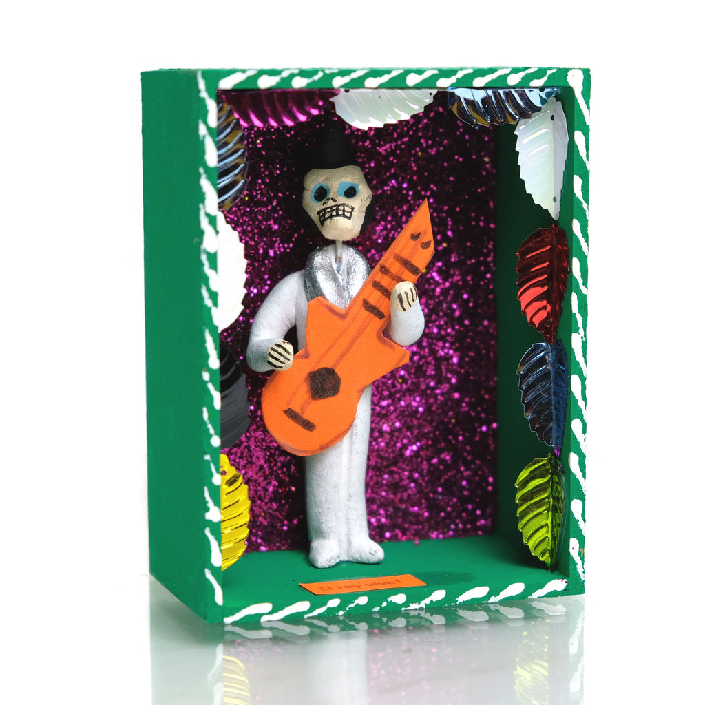 Viva El Rey Tribute to Elvis the King Mexican Dia Del Muerta Caja