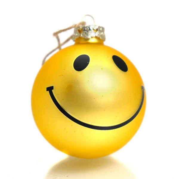 Smiley Face Glass Ornament