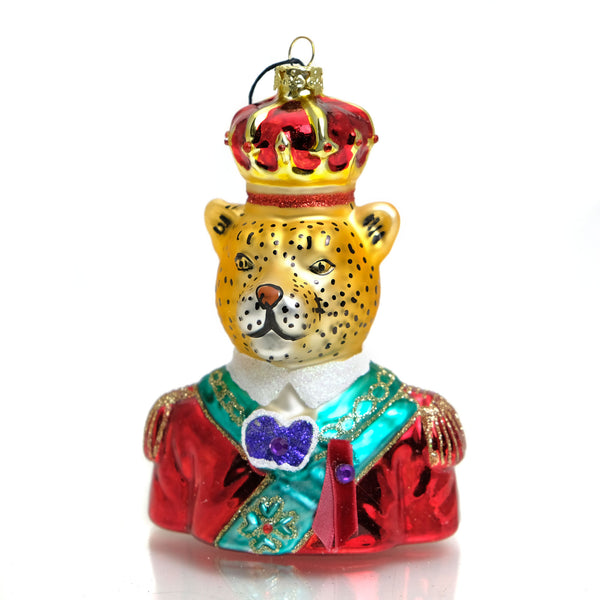 Regal Leopard Glass Ornament