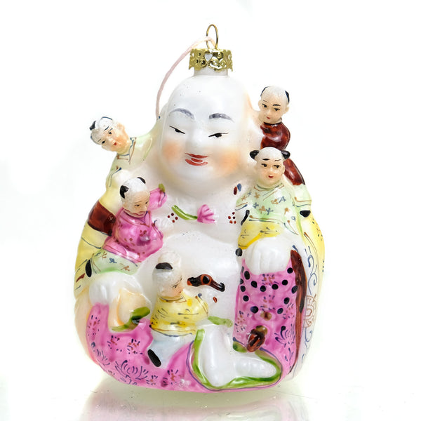 Good Fortune Five Children Laughing Buddha Glass Ornament