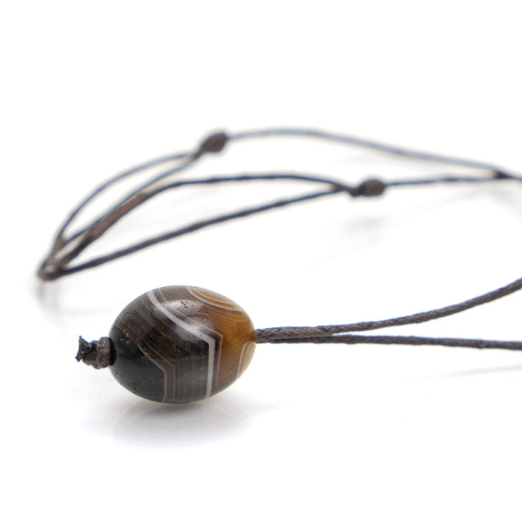 Banded Agate Bead Adjustable Necklace 2
