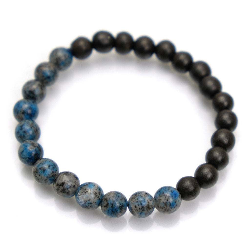 K2 Granite with Azurite + Iron Wood Stretch Bracelet #1