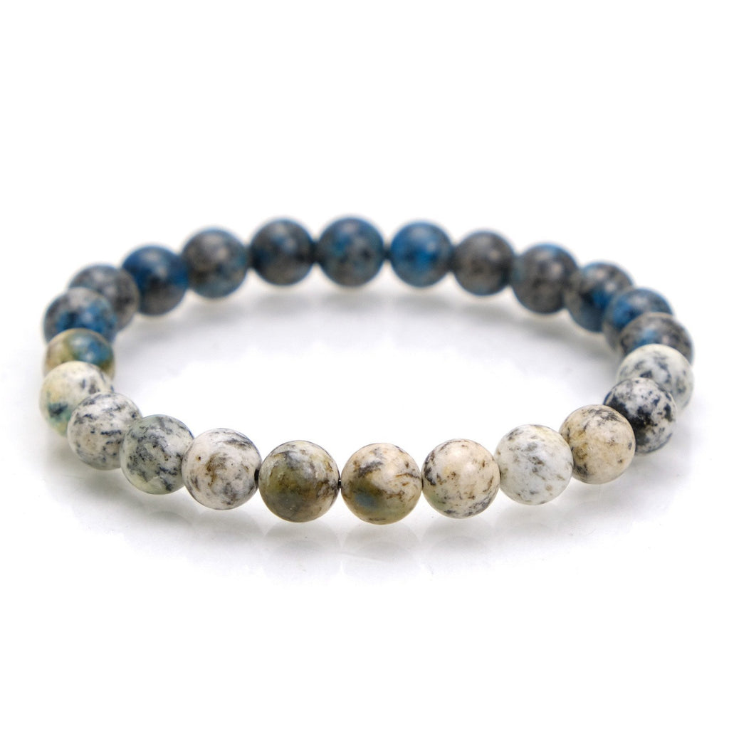 K2 Granite with Azurite Stretch Bracelet #1