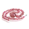 Smooth Pink Tourmaline Nuggets Knotted Necklace with Sterling Silver Lobster Clasp