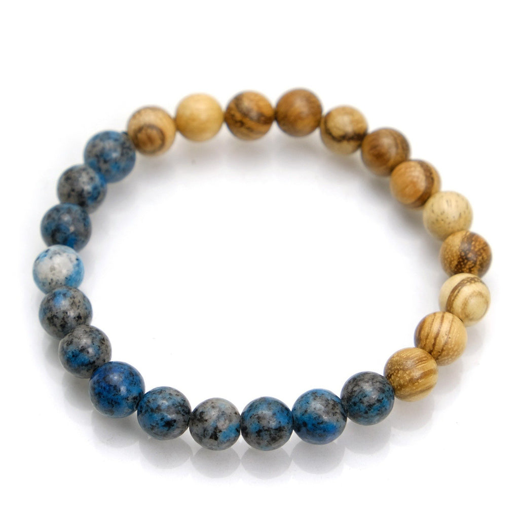 K2 Granite with Azurite + Banded Sandalwood Stretch Bracelet #1