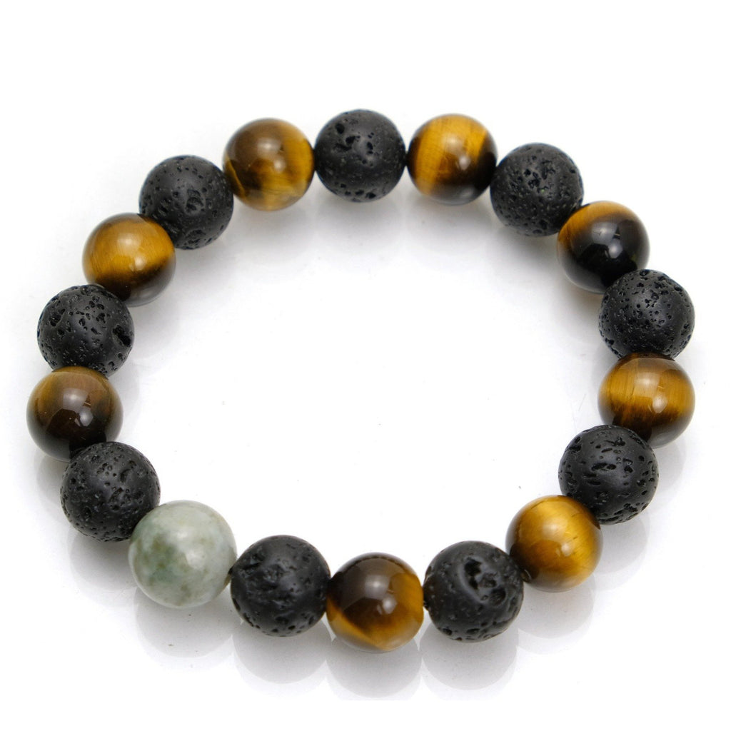 Tiger's Eye + Lava Stone + Jade Stretch Bracelet #1