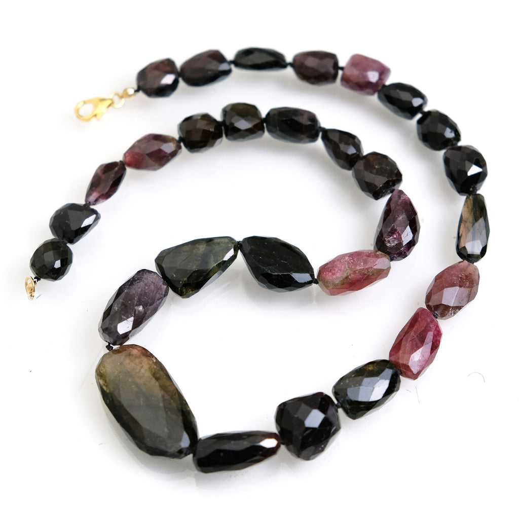 Multicolor Faceted Tourmaline Nuggets Knotted Necklace with Gold Filled Trigger Clasp