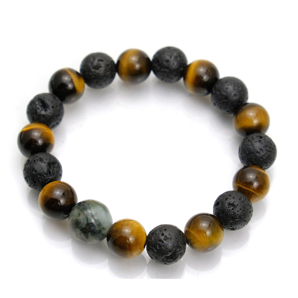 Tiger's Eye + Lava Stone + Jade Stretch Bracelet #2