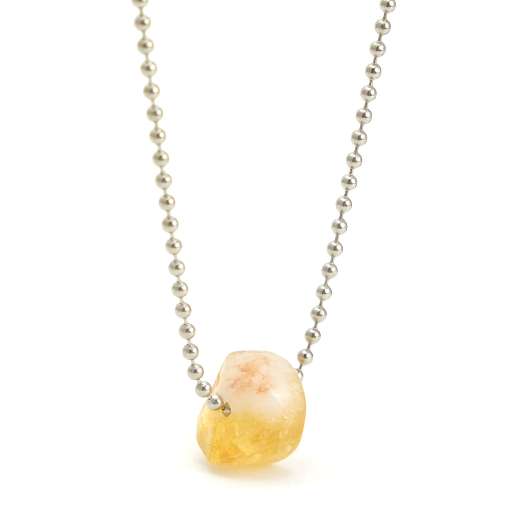 Citrine Ball Chain Necklace