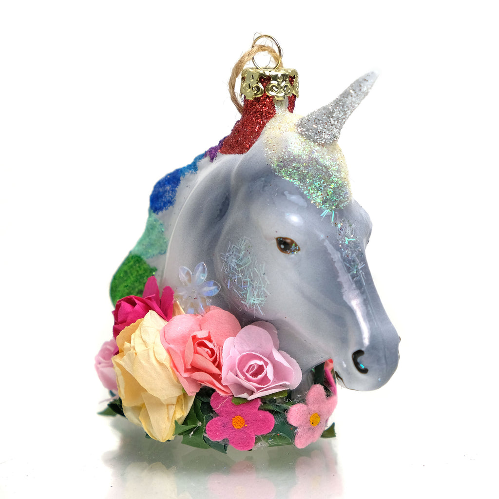 Unicorn Sparkle Glass Ornament