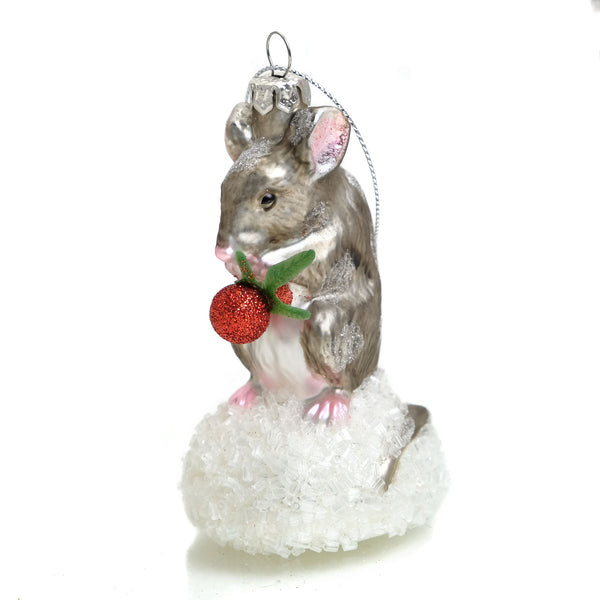 Mouse with Berry Glass Ornament