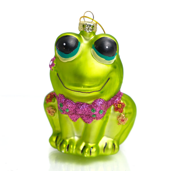 Retro Frog Glass Ornament