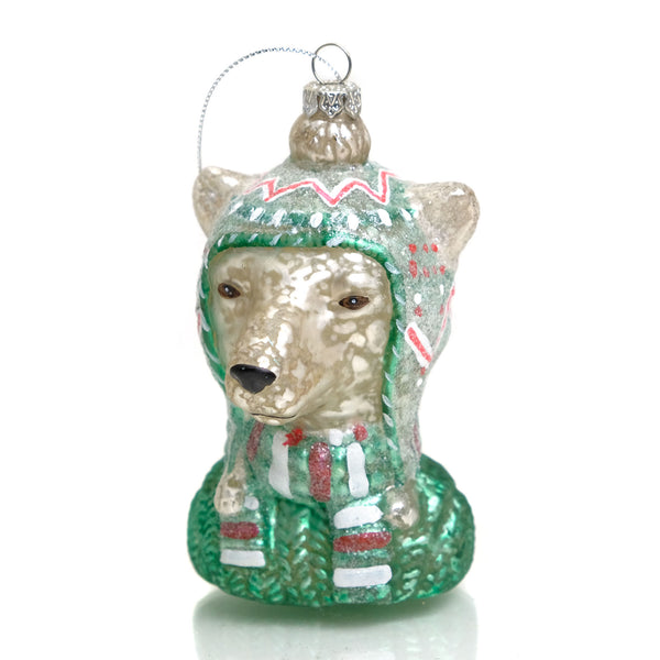 Winter Bear Glass Ornament