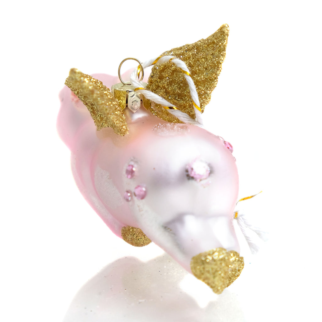 Flying Pig Glass Ornament