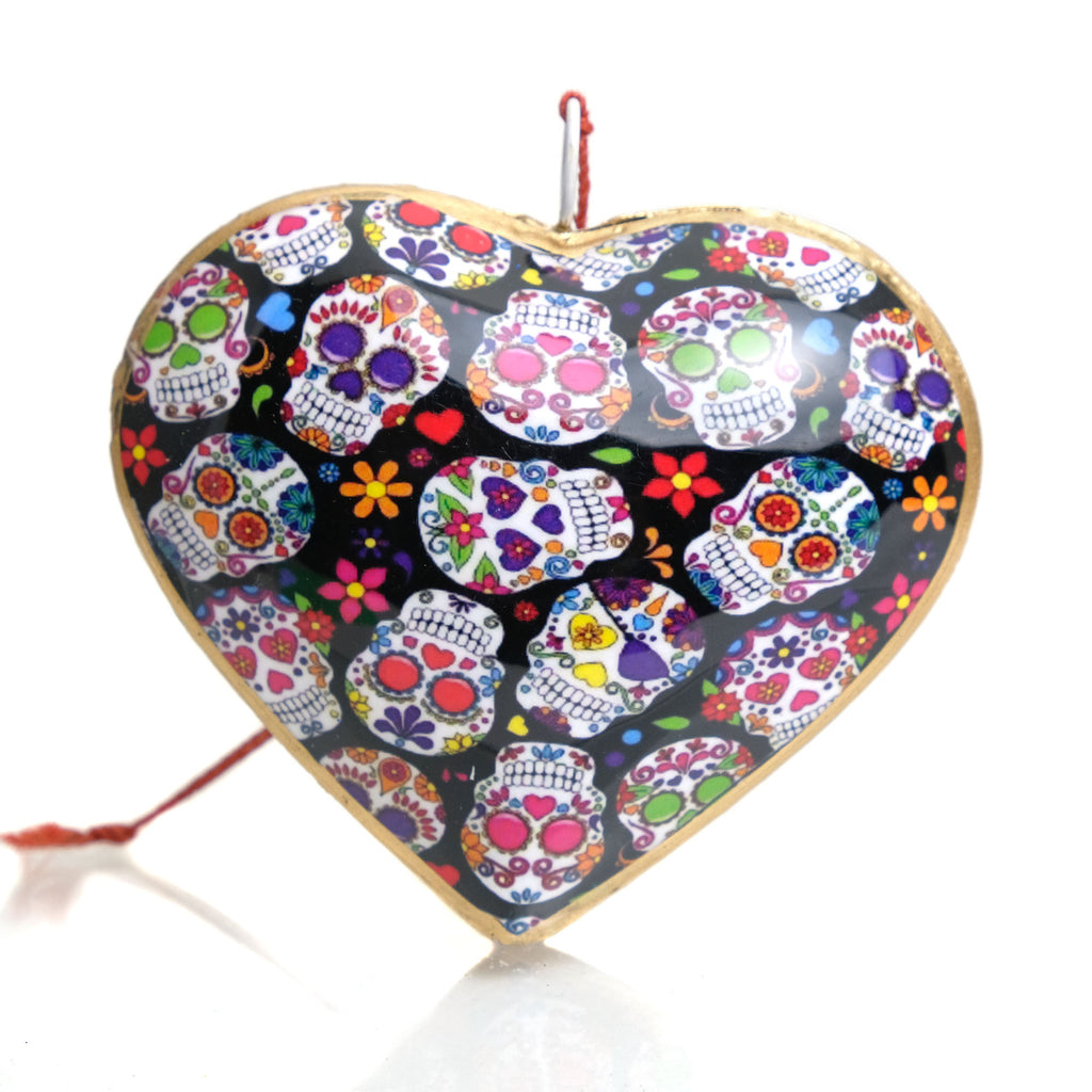 Sugar Skull Heart Ornament