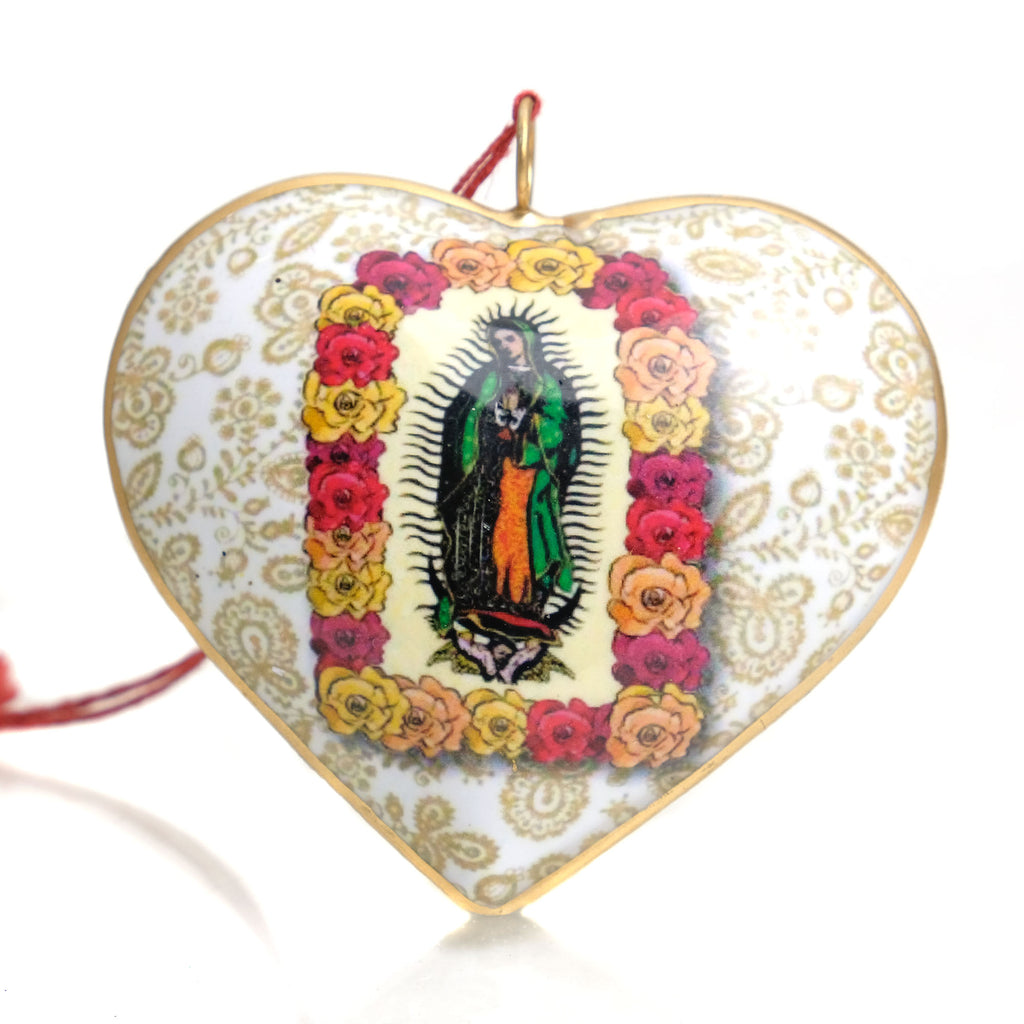 Virgin Of Guadalupe Estampa Heart Ornament