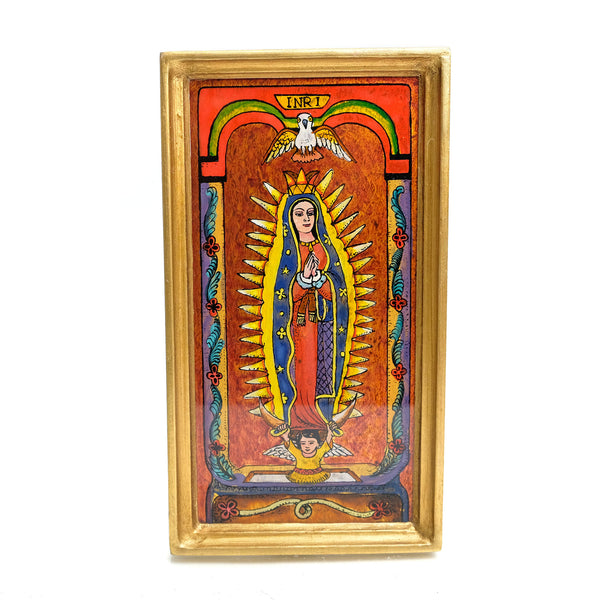 Reverse Painted Virgin of Guadalupe