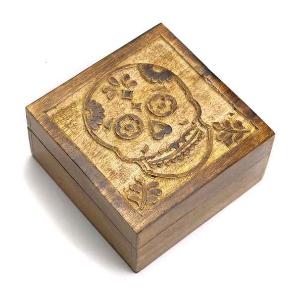 Hand Carved Wooden Skull Box