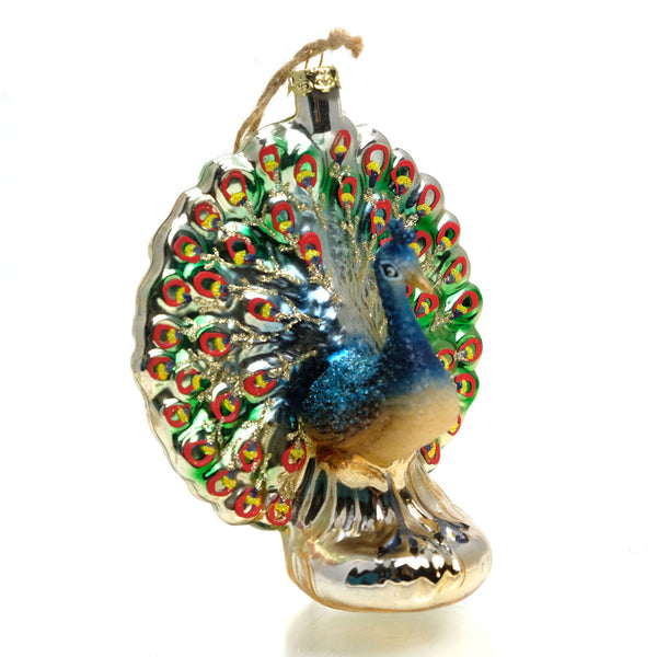 Peacock Glass Ornament