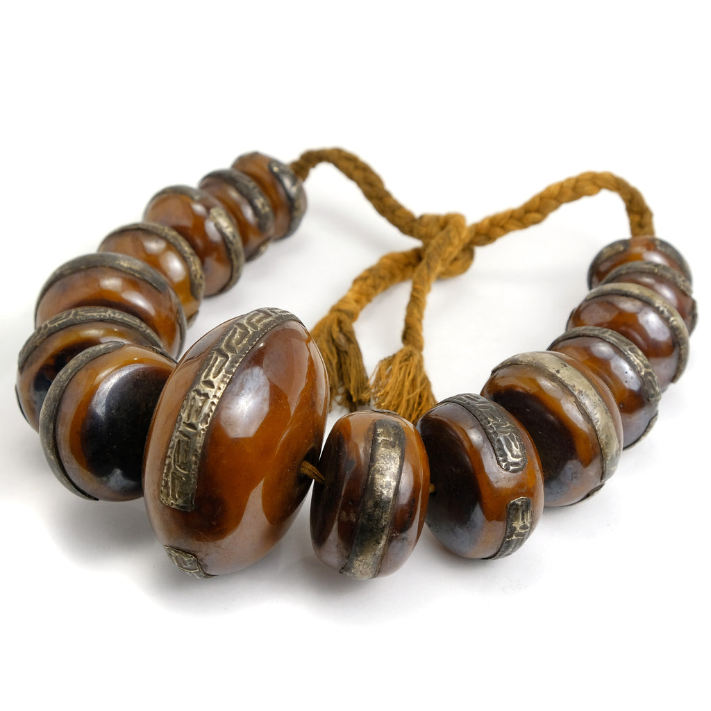 Naga Resin Amber Metal Necklace