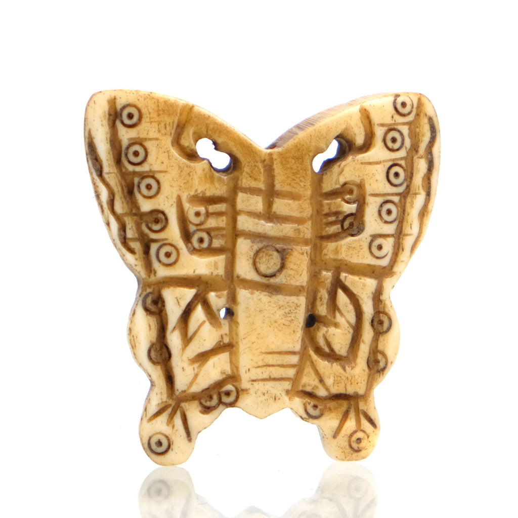 Carved Bone Pendant, Butterfly 2