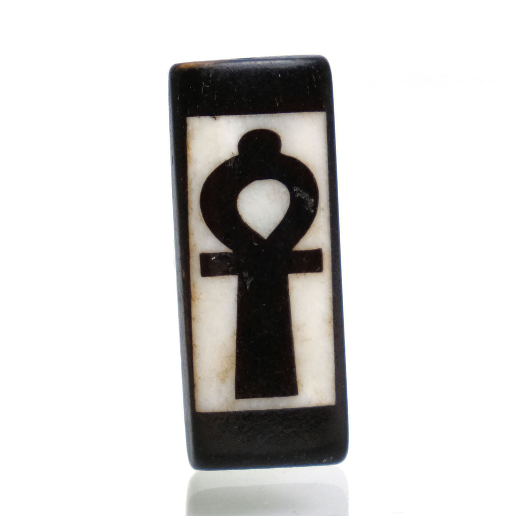 Carved Bone Batik Pendant, Ankh
