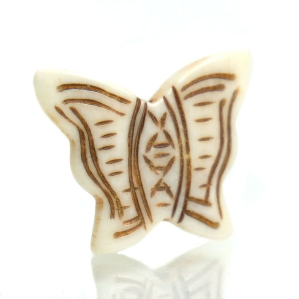 Carved Bone Pendant, Butterfly 3
